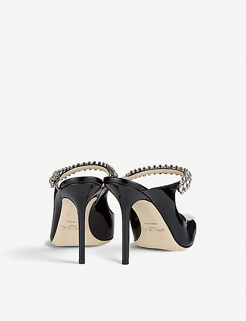 6fb8a1401a9e JIMMY CHOO Bing 100 crystal-embellished patent-leather heeled mules · Quick  Shop