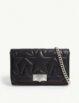 JIMMY CHOO Helia leather clutch