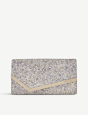 JIMMY CHOO Emmie glittered clutch