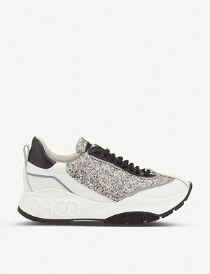 JIMMY CHOO Raine course glitter and leather trainers