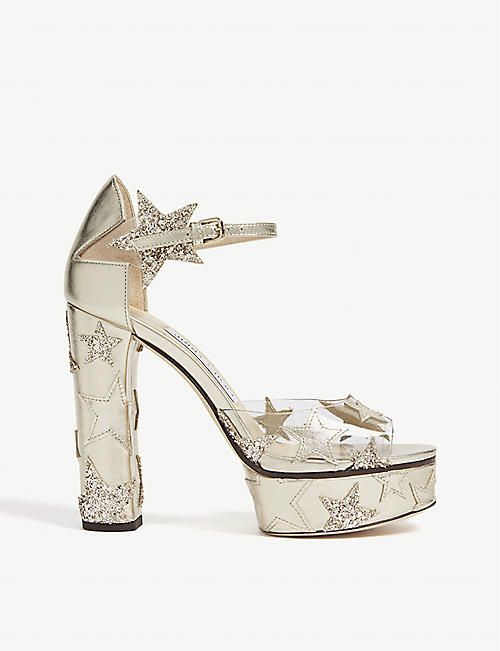 f823ac26302b JIMMY CHOO Angel glitter-embellished patent-leather and PVC sandals