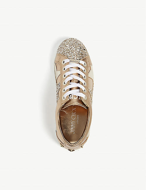 JIMMY CHOO Cash suede and glitter trainers