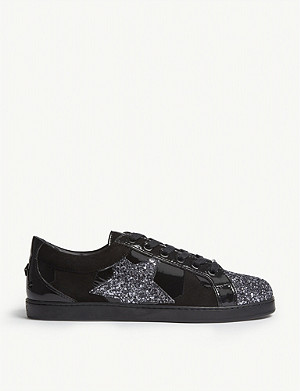 JIMMY CHOO Cash suede and glitter low-top trainers