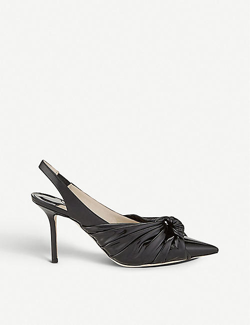 JIMMY CHOO Annabell 85 patent leather slingback pumps