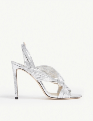 JIMMY CHOO Lalia 100 metallic foiled leather heeled sandals