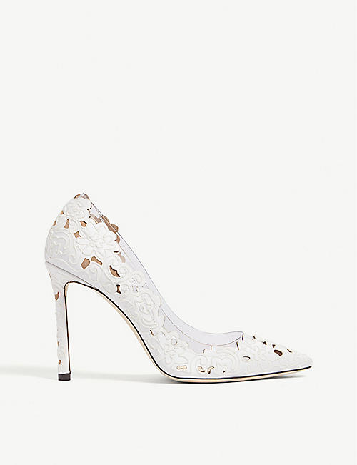 8f5f1936449 JIMMY CHOO Romy 100 floral-lace and leather courts