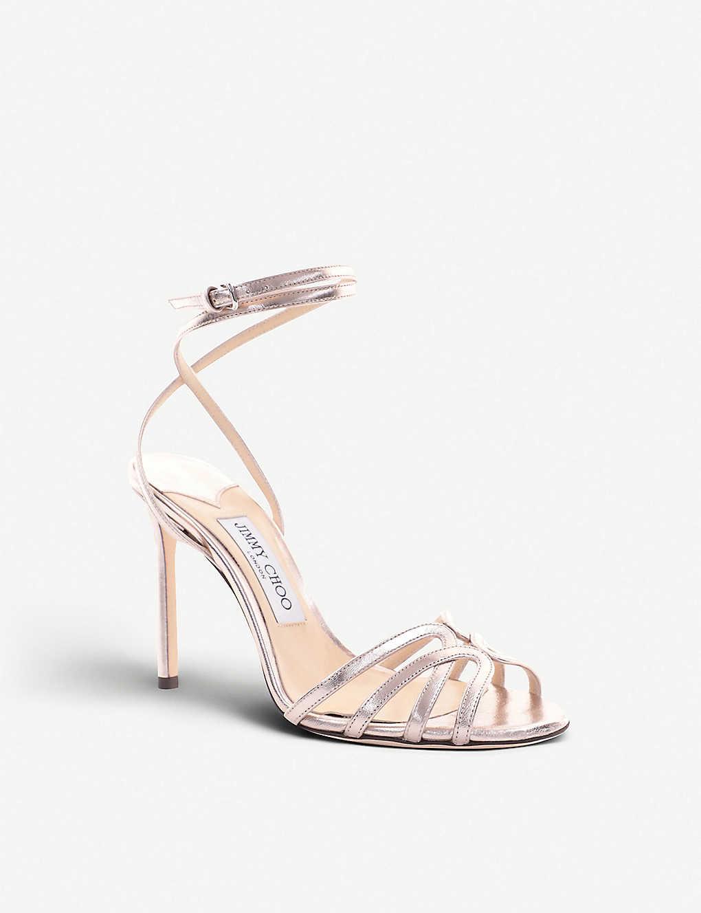 58090ce1c168 ... Mimi 100 metallic leather heeled sandals - Platinum ...