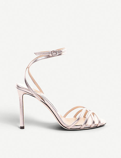 a1249935e254 JIMMY CHOO Mimi 100 metallic leather heeled sandals