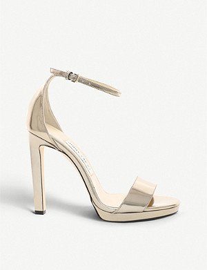 JIMMY CHOO Misty 120 metallic-leather heeled sandals