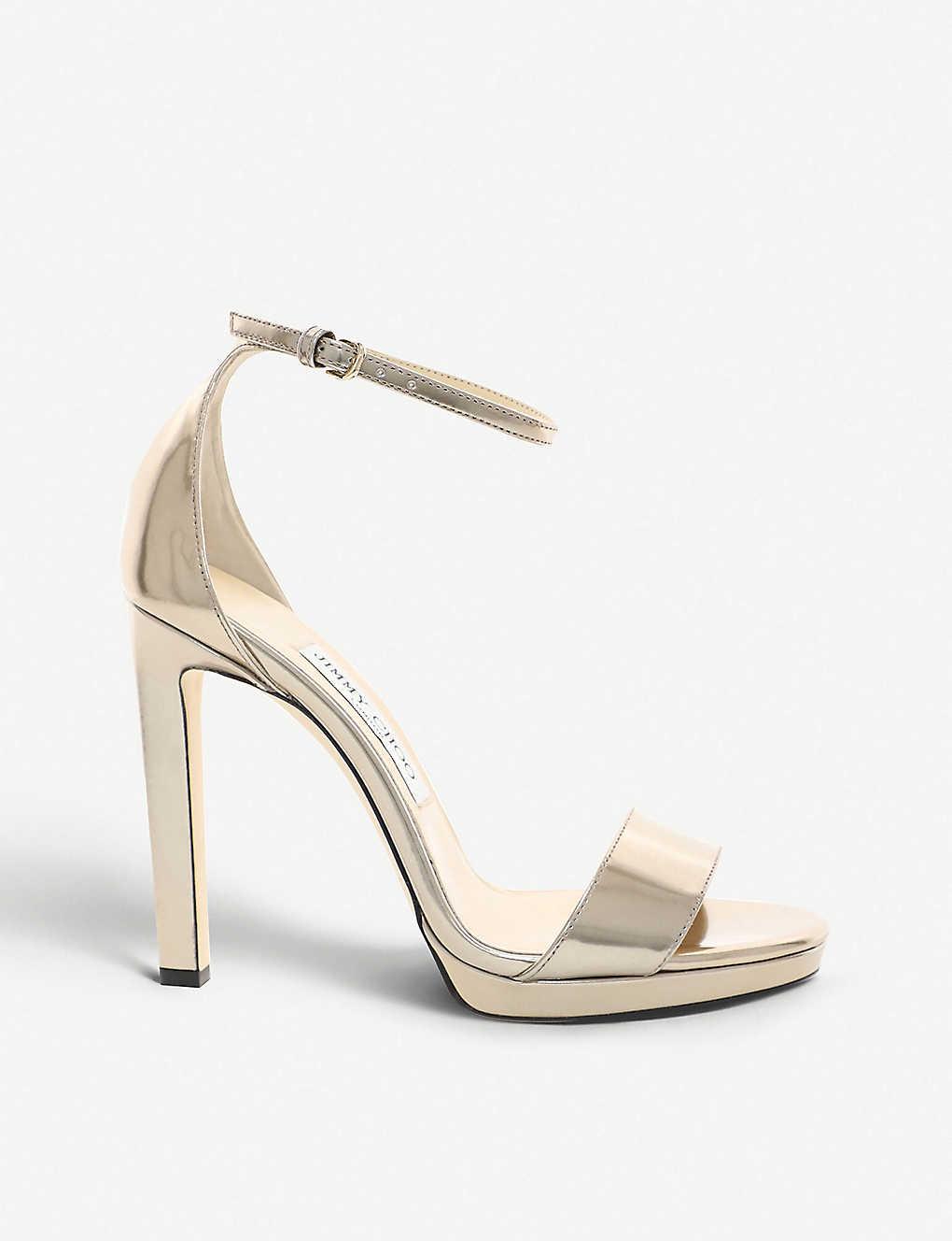 JIMMY CHOO: Misty 120 metallic-leather heeled sandals
