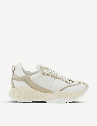 JIMMY CHOO: Raine suede, mesh and leather trainers