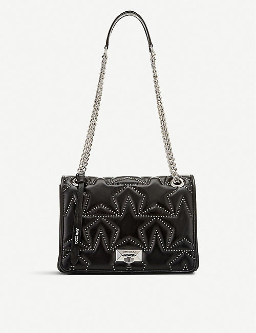 c0de3e572132 JIMMY CHOO Helia star-print bead-embellished leather shoulder bag