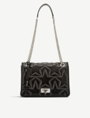 JIMMY CHOO Helia star-print bead-embellished leather shoulder bag