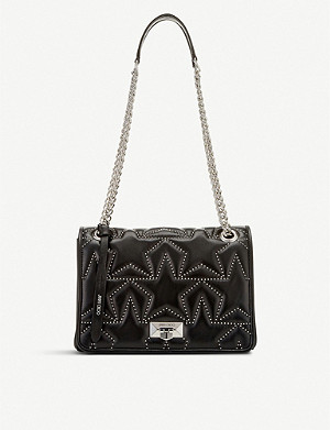 JIMMY CHOO Helia small star-print bead-embellished leather shoulder bag