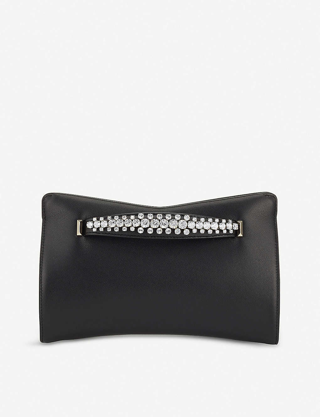 JIMMY CHOO: Venus crystal-embellished leather clutch