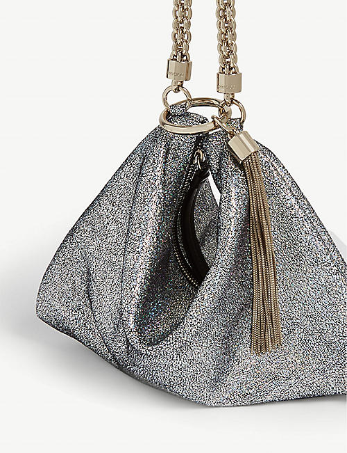 JIMMY CHOO Callie hologram-leather clutch bag