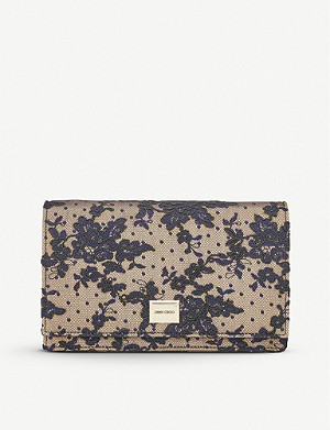 JIMMY CHOO Lizzie floral-lace shoulder bag