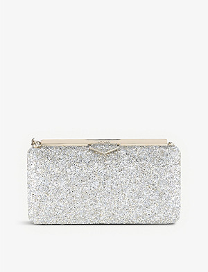 JIMMY CHOO Ellipse coarse glitter clutch