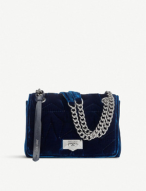 JIMMY CHOO Helia star-quilted velvet shoulder bag