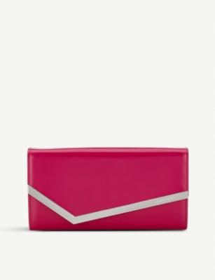 JIMMY CHOO Emmie patent leather and suede clutch