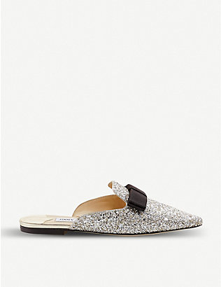 JIMMY CHOO: Galaxy Flat bow-detail glitter mules