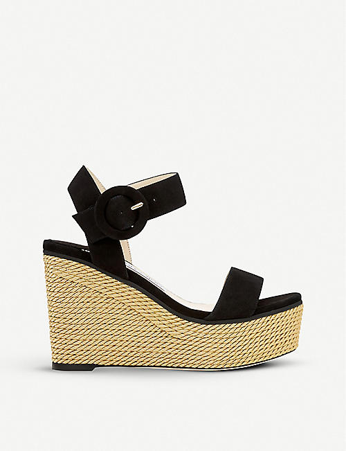 JIMMY CHOO Abigail 100 suede wedge sandals