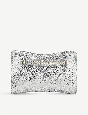 JIMMY CHOO Venus crystal-embellished glittered clutch