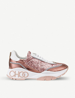 JIMMY CHOO Raine Galactica glitter-embellished leather trainers