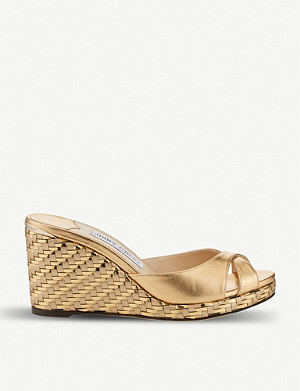 JIMMY CHOO Almer metallic leather wedge sandals