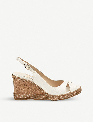 JIMMY CHOO Amely 80 leather slingback wedges
