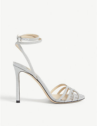 JIMMY CHOO: Mimi 100 glitter heeled sandals