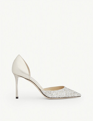 JIMMY CHOO Esther 85 glitter-woven and metallic-leather courts