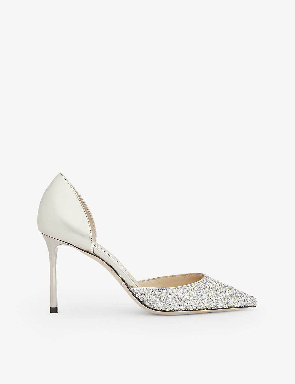 JIMMY CHOO: Esther 85 glitter-woven and metallic-leather courts