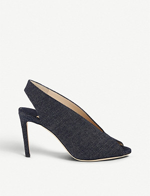 JIMMY CHOO Shar 85 denim peep-toe sandals