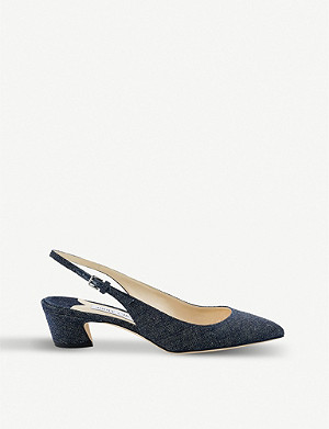 JIMMY CHOO Gemma 40 denim slingback pumps