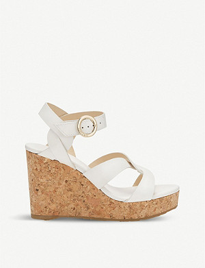JIMMY CHOO Aleili Vachetta leather wedge heels