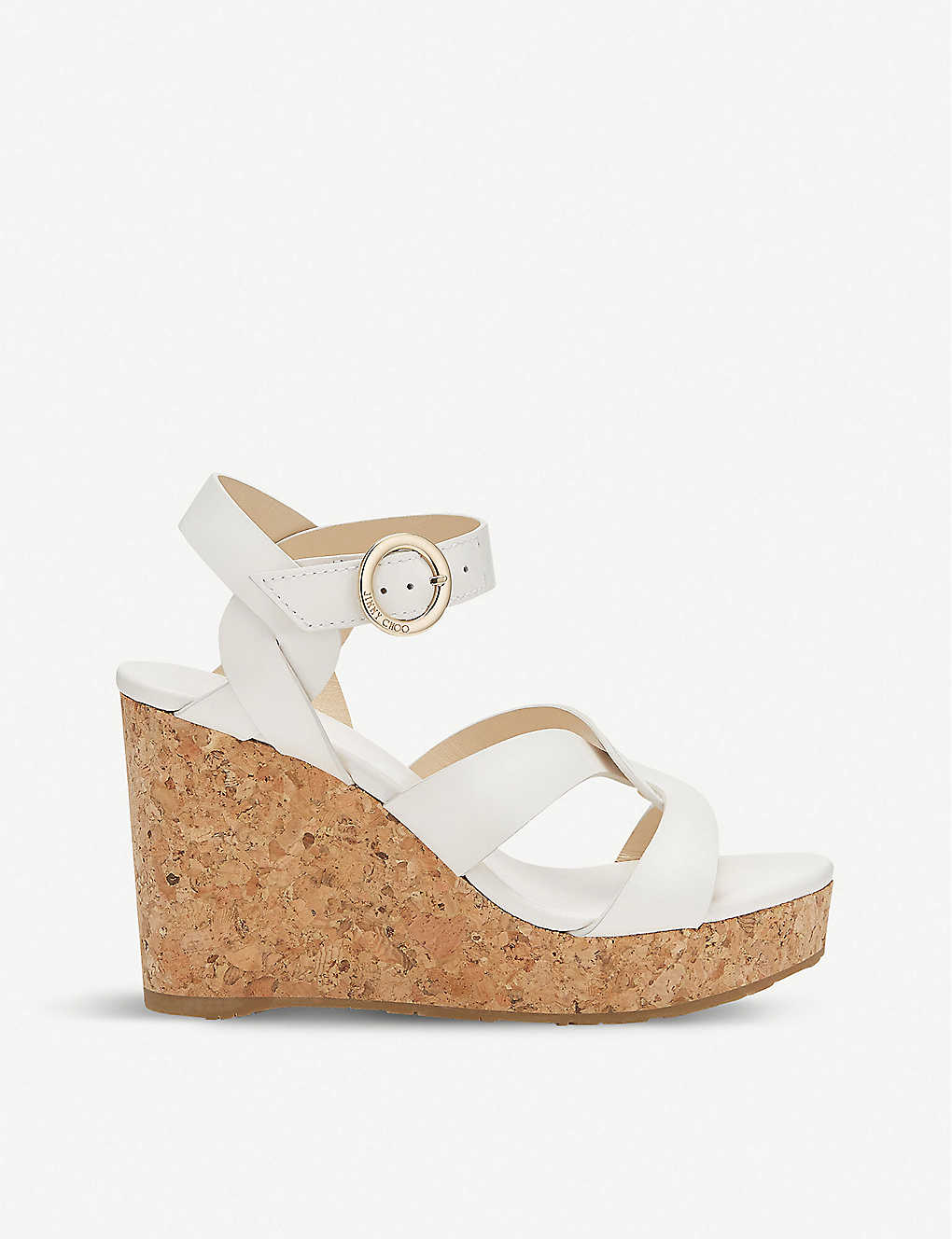JIMMY CHOO: Aleili Vachetta leather wedge heels