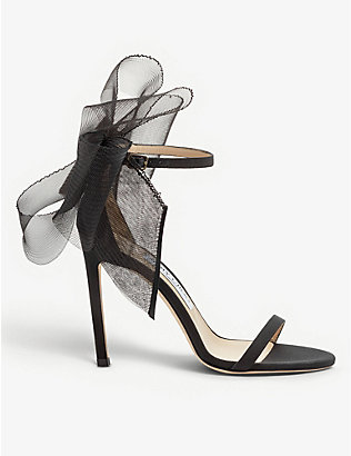 JIMMY CHOO: Aveline 100 asymmetric leather sandals