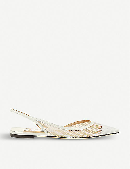 JIMMY CHOO Fetto 65 mesh and leather slingback flats