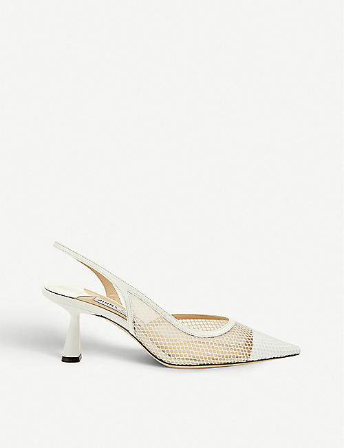 JIMMY CHOO Fetto 65 mesh and leather slingback heels