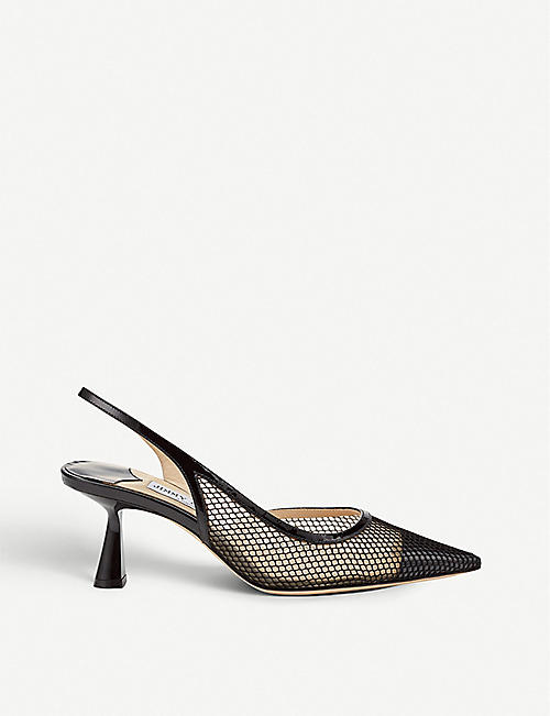 d730d58ed2c JIMMY CHOO Fetto 65 mesh and leather slingback heels