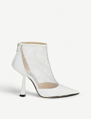 JIMMY CHOO Kix 100 mesh and patent ankle boots
