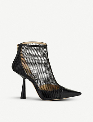 JIMMY CHOO Kix 100 patent and mesh ankle boots