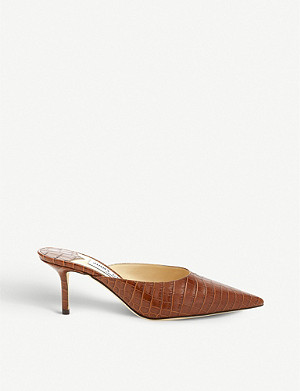 JIMMY CHOO Rav 65 crocodile-embossed leather mule pumps