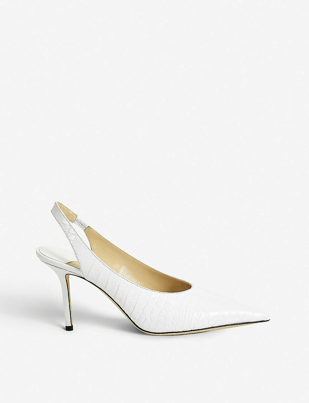 JIMMY CHOO: Ivy 85 croc-embossed leather slingback pumps