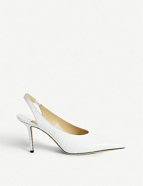 JIMMY CHOO Ivy 85 croc-embossed leather slingback pumps