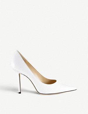 JIMMY CHOO Love 100 croc-embossed leather stiletto heels