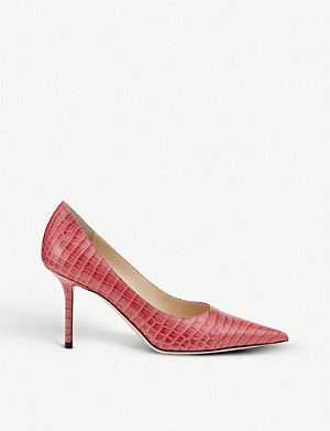 JIMMY CHOO Love 85 croc-embossed leather courts