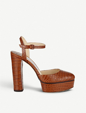 JIMMY CHOO Maple 125 crocodile-embossed leather platforms