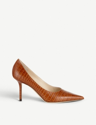 JIMMY CHOO Love 85 crocodile-embossed leather courts